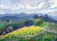 Quadro di Gino Paolo Gori - Paesaggio con ginestre olio tavola