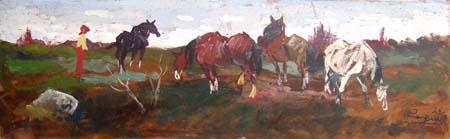 Quadro di Basso Ragni Paesaggio con cavalli