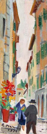 Art work by Rodolfo Marma Via delle Caldaie (Firenze) - oil cardboard