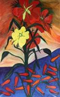 Work of Livio Cogoli - Fiori rossi con orchidee oil canvas