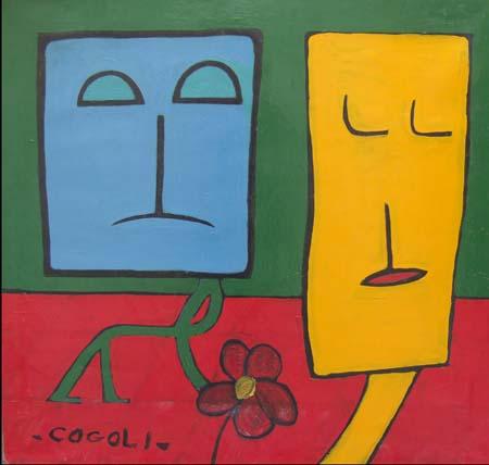 Quadro di Livio Cogoli Incontro sul piazzale - olio tela