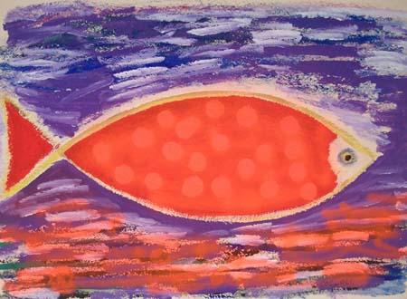 Art work by Livio Cogoli La balena - oil rough paper