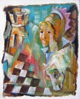 Quadro di Lino Russo (Linor)  Scacchi con regina