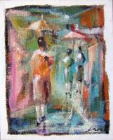 Quadro di Lino Russo (Linor)  Sotto la pioggia