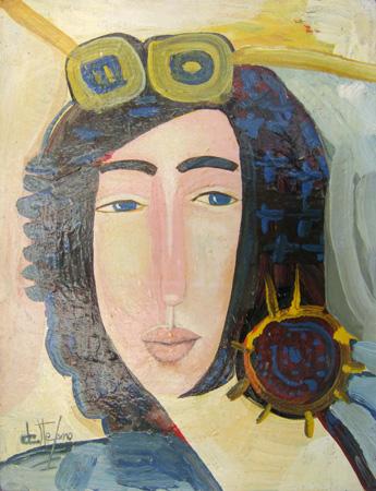 Quadro di Luigi De Stefano Testa e fiori gialli? - olio tela