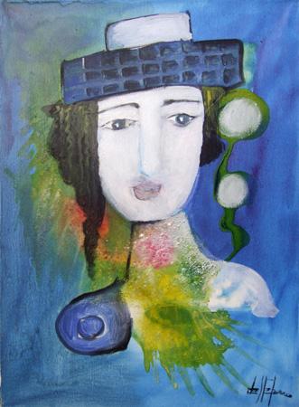 Quadro di Luigi De Stefano Figura con cappello - olio tela