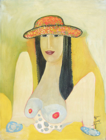 Art work by Luigi De Stefano Cilena seduta - oil canvas