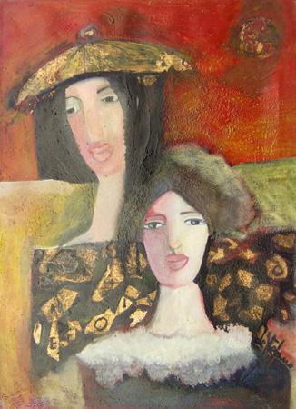 Quadro di Luigi De Stefano Madre con ragazza - olio tela