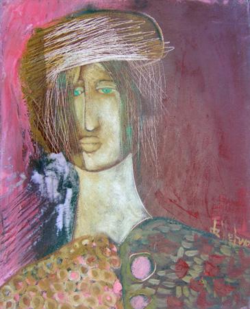 Quadro di Luigi De Stefano Testa con giacca - olio tela