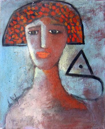 Quadro di Luigi De Stefano Volta e triangolo - olio tela