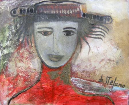 Art work by Luigi De Stefano Cappello con testa - oil canvas