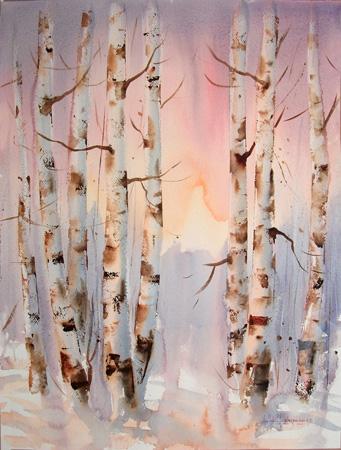 Quadro di Heikki Laaksonen Alberi - acquerello carta