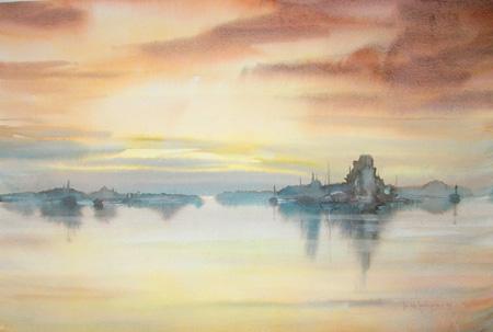 Quadro di Heikki Laaksonen Paesaggio - acquerello carta