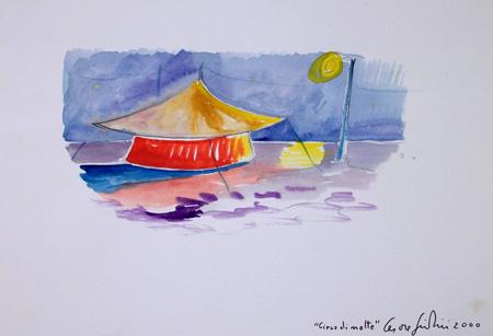 Art work by Cesare Giardini Circo di notte - watercolor paper