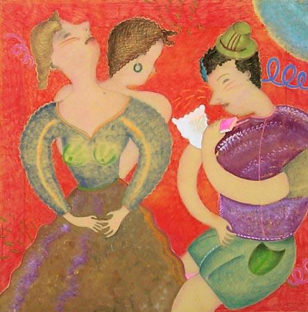 Quadro di Luca Alinari Figure - olio tela