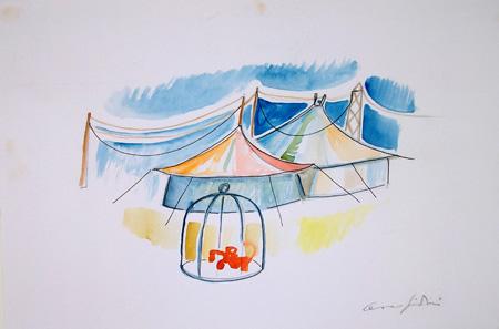 Art work by Cesare Giardini Circo - watercolor paper