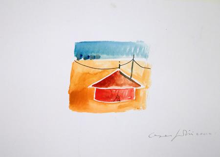 Quadro di Cesare Giardini Giostra - acquerello carta