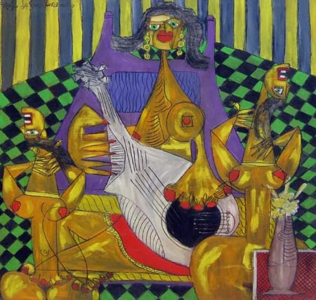 Quadro di Paolo da San Lorenzo La chitarrista e le danzatrici - olio tela