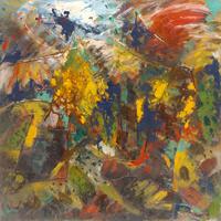 Quadro di  Kapel (Cappello) - Paesaggio rupestre olio tela