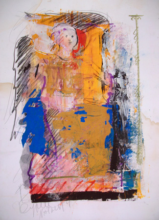 Art work by  Kapel (Cappello) Angelo sul trono - mixed paper