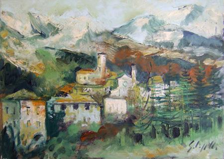 Quadro di Emanuele Cappello Paesaggio alpino - olio tela
