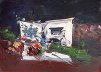 Quadro di Sergio Scatizzi - Fiori e musica olio tavola