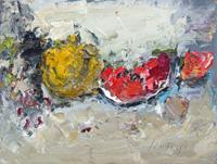 Work of Sergio Scatizzi - Composizione con frutta oil table