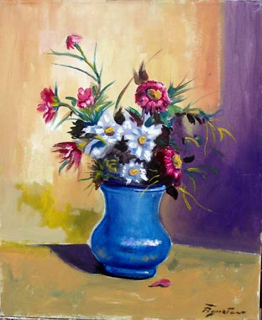 Quadro di Luigi Pignataro Vaso con fiori