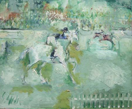 Quadro di Emanuele Cappello Corse di cavalli - olio tela