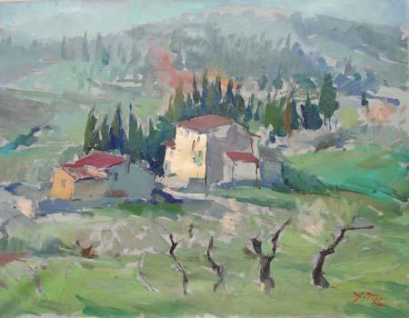 Quadro di Gino Tili Paesaggio toscano
