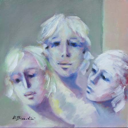 Art work by Umberto Bianchini Volti - oil canvas