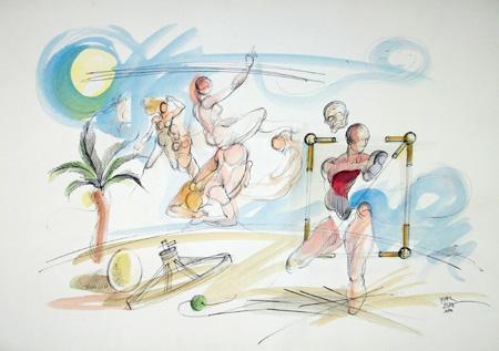 Quadro di Claude Falbriard Sulla spiaggia - Pittori contemporanei galleria Firenze Art
