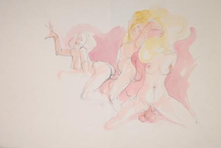 Quadro di Claude Falbriard Composizione erotica - mista carta