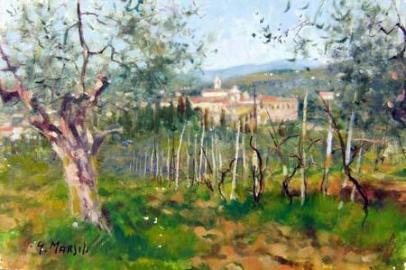 Quadro di Graziano Marsili La Certosa - (Galluzzo) - olio cartone