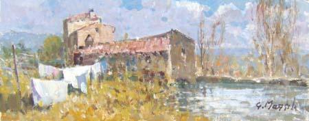 Quadro di Graziano Marsili Vecchio mulino - olio cartone