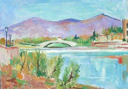 Quadro di Rodolfo Marma Ponte S.Niccolò (FIRENZE) - olio tela