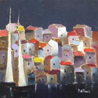 Quadro di Lido Bettarini  Paesaggio con barche