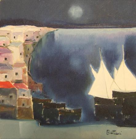 Art work by Lido Bettarini Paesaggio con barche - oil canvas