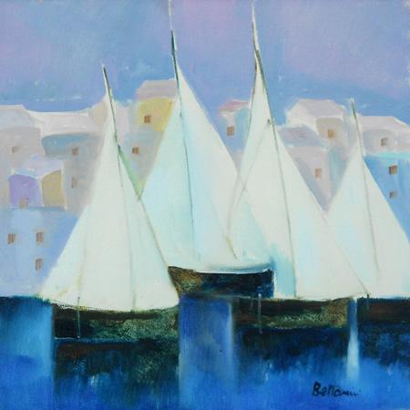 Quadro di Lido Bettarini Paesaggio con barche - olio tela