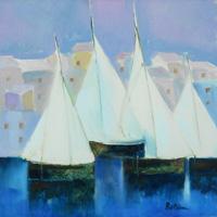 Work of Lido Bettarini  Paesaggio con barche