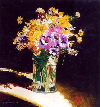 Quadro di piero copertini fiori spontanei for Quadri olio fiori