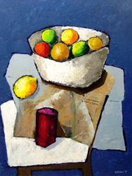 Work of Franco Lastraioli - Frutti e giornali oil paper