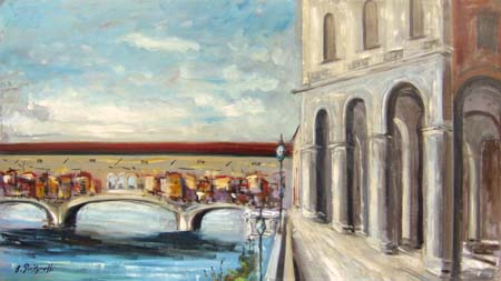 Art work by S. Guidarelli Ponte Vecchio - Firenze - oil cardboard