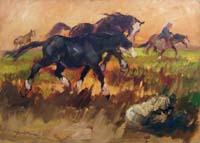 Quadro di Basso Ragni  Cavalli al tramonto