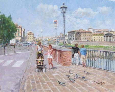 Art work by Graziano Marsili Estate sul lungarno (Firenze) - oil canvas