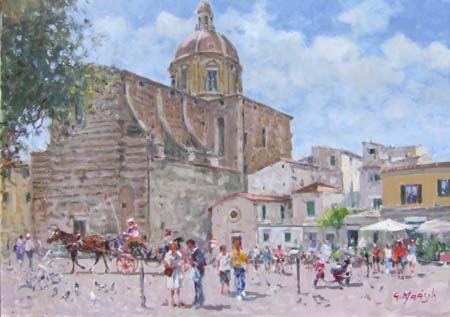Art work by Graziano Marsili Piazza Cestello (Firenze) - oil canvas