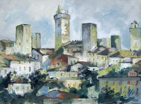 Quadro di Emanuele Cappello San Gimignano (Siena) - olio tela