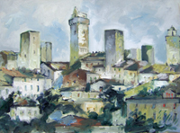 Work of Emanuele Cappello - San Gimignano (Siena) oil canvas