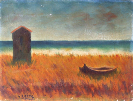 Art work by Carlo Carrà Spiaggia (copia d'autore) - oil canvas