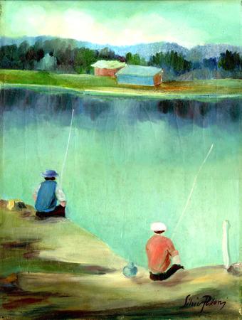 Quadro di Silvio Polloni Pescatori sull'Arno  - olio tela